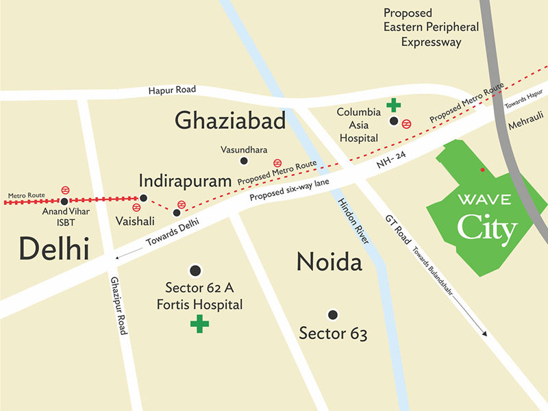 Wave City Ghaziabad Location Map - Ghaziabad map